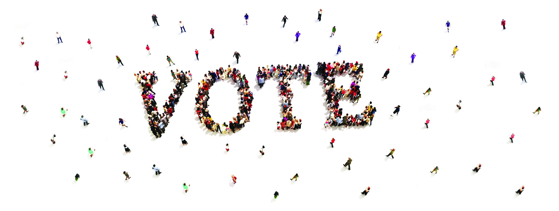 people voting banner